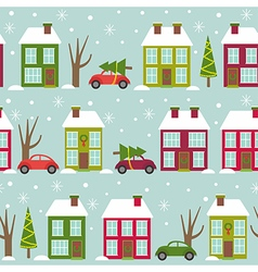Seamless pattern with houses and cars in winter vector