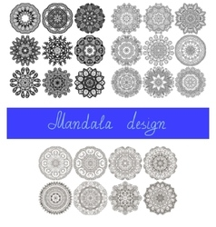 set 26 mandala design circle ornament vector image