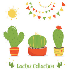 set collection of cute cartoon cactus in pots vector image