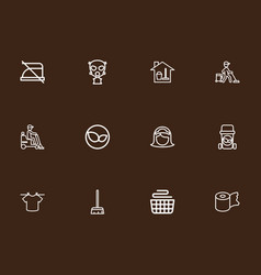 Set of 12 editable hygiene outline icons includes vector