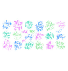 set spring coming hand written lettering vector image