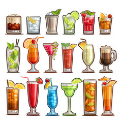 set tropical cocktails vector image
