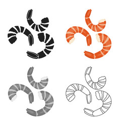 Shrimp icon in cartoon style isolated on white vector