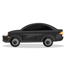side view of black cartoon car on white background vector image