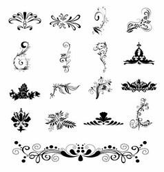 Silhouette Elegant Ornament Floral Design vector image