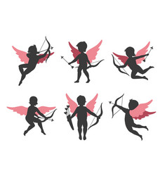 silhouettes cupids vector image