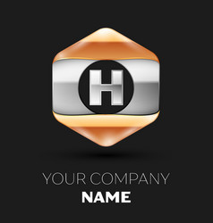 Silver letter h logo in silver-golden hexagonal vector