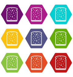 slice of white bread icon set color hexahedron vector image