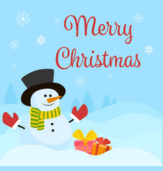 snowman with gifts and vector image