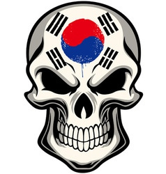 South Korea flag painted on a skull vector image