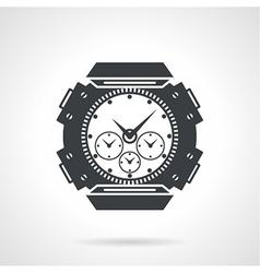 Sports wrist watch black icon vector