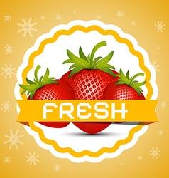 Strawberry Fresh Strawberries Retro Label vector image