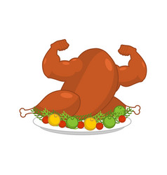 Strong turkey on plate with garnish vector