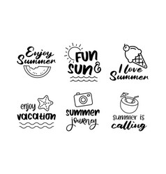 summer labels set retro hand drawn elements for vector image