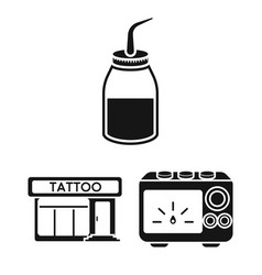 tattoo drawing on the body black icons in set vector image