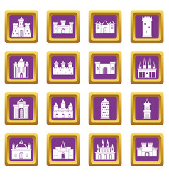 Towers and castles icons set purple vector