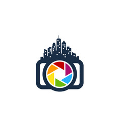 Town camera logo icon design vector