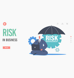Trader minimize risk in business landing page vector