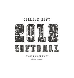 typographic emblem of softball team vector image
