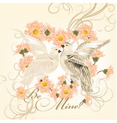 Valentine greeting card with cute couple doves vector