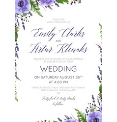 Wedding floral invite save the date card vector