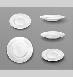 white plates realistic 3d ceramic dishes top view vector image