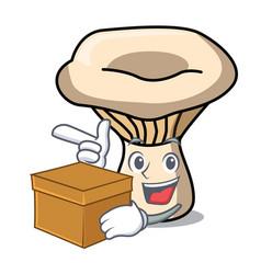 With box milk mushroom character cartoon vector