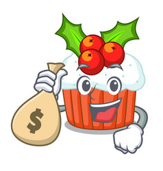 with money bag character christmas cupcake with vector image
