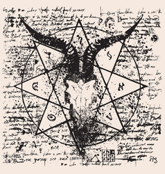 with skull of goat and pentagram vector image