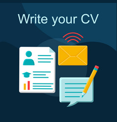 write your cv flat concept icon vector image