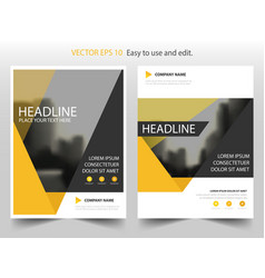 Yellow triangle annual report leaflet brochure vector