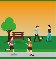 young men playing with ball soccer and couple vector image