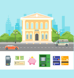 cartoon building bank on a city landscape vector image vector image