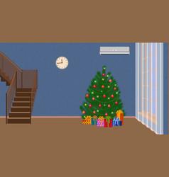 Christmas interior of living room with christmas vector