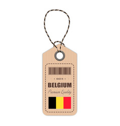 hang tag made in belgium with flag icon isolated vector image