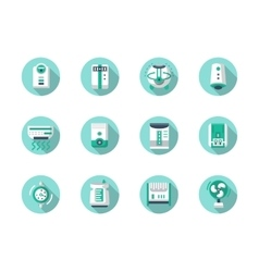 House climate technics blue round icons vector image