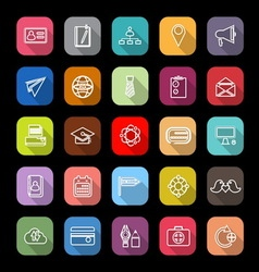 Contact connection line icons with long shadow vector image vector image