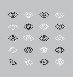 human eye line icons eyesight outline vector image