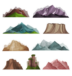 nature mountain silhouettes set variety of vector image