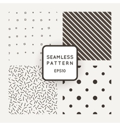 Set of seamless patterns of points lines vector image vector image