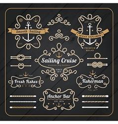 Vintage nautical rope frame labels set vector image vector image