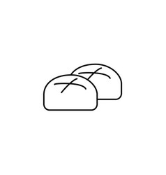buns roll baked bread line icon sign vector image
