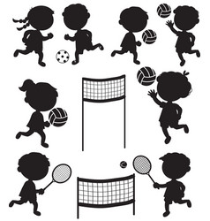 eight sportive kids black silhouettes vector image vector image