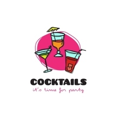 funny cartoon style cocktail bar logo with vector image