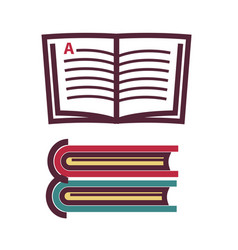 opened and closed books vector image