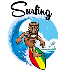 tiki surfing vector image vector image