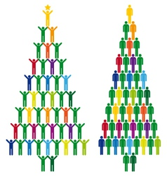 christmas tree with people icons vector image vector image
