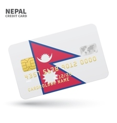 Credit card with Nepal flag background for bank vector image vector image