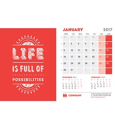 Desk calendar template for 2017 year january vector