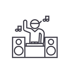 dj playing mix concept thin line icon vector image